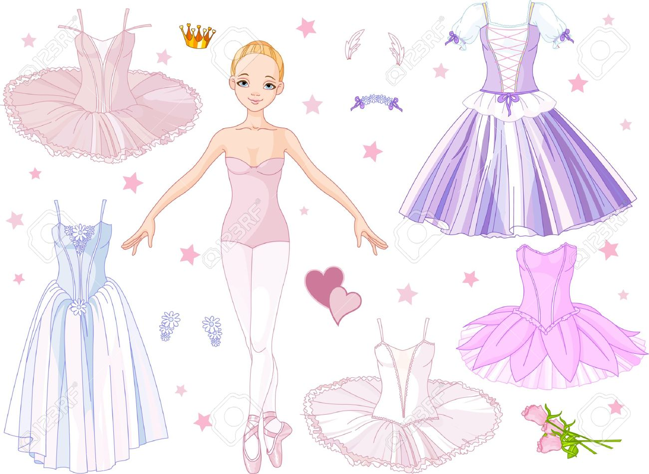 Paper Doll Dress 13850615 Paper Doll Ballerina With Different Costumes  Stock Vector Ballet Paper Doll Dress
