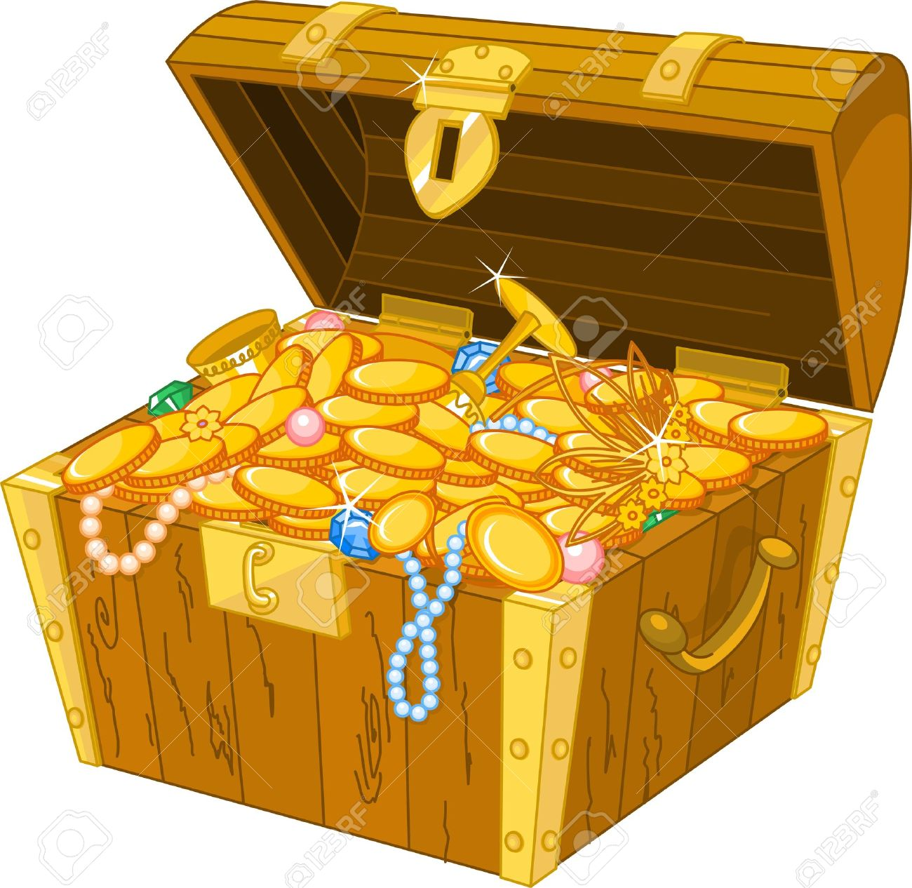 Illustration Of Treasure Chest Full Of Gold Royalty Free Cliparts ...