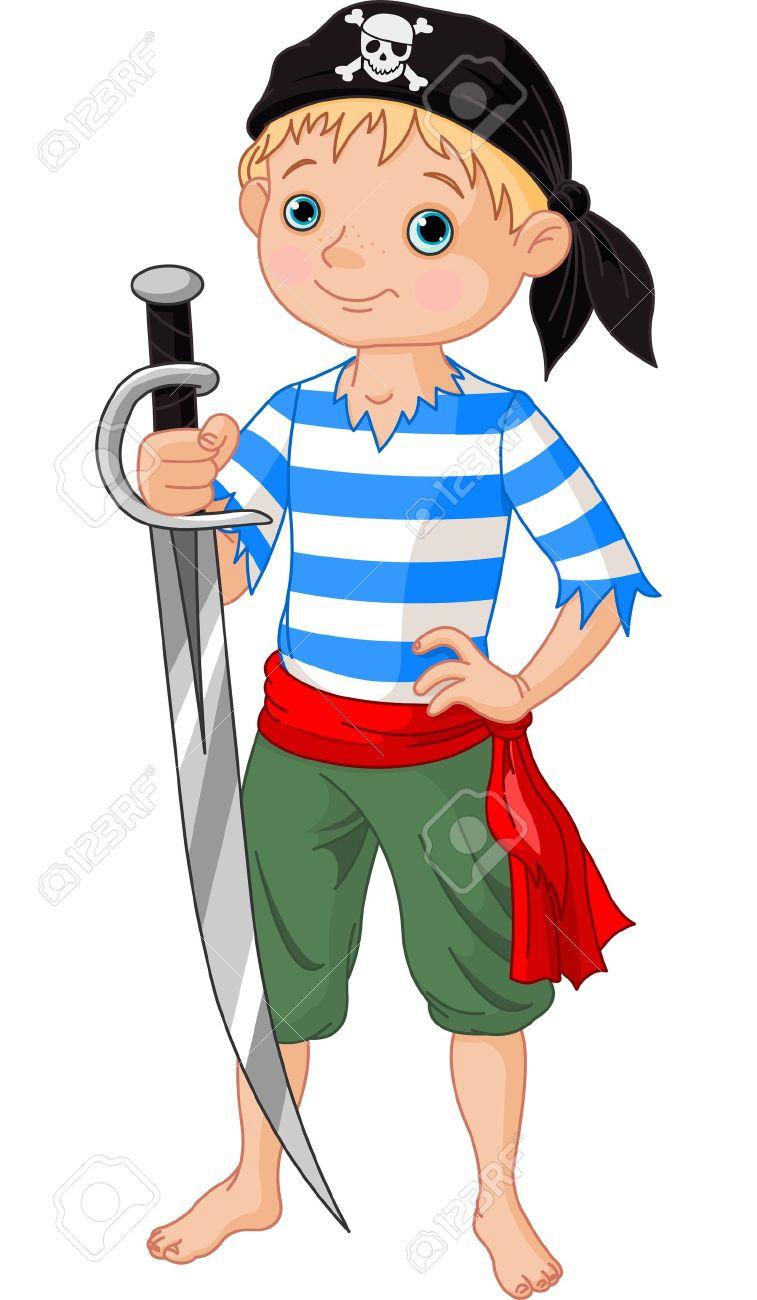 剣を持つかわいい海賊男の子のイラストのイラスト素材ベクタ Image