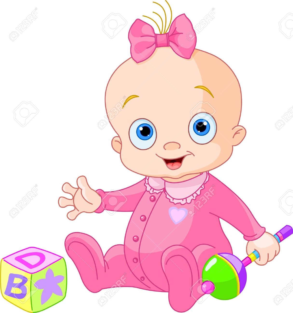 Baby Girl Playing With Rattle Royalty Free Cliparts Vectors And Stock Illustration Image 14080832