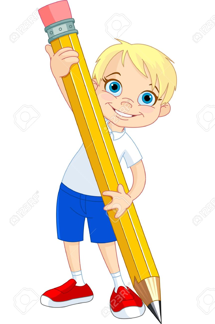 Banque dimages illustration de little boy et crayon géant