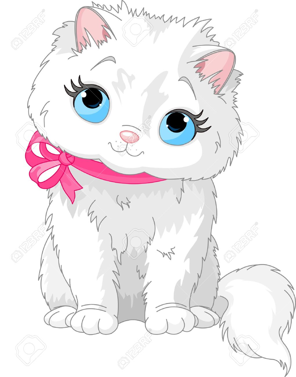 Illustration Of Fluffy White Cat With Pink Bow Royalty Free ...