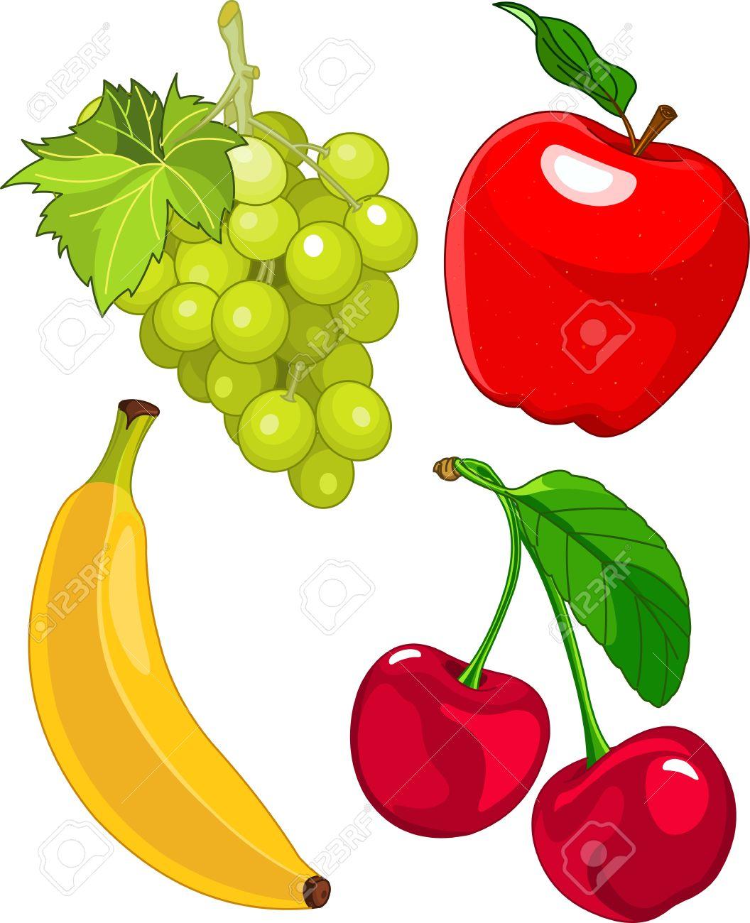 Cartoon fruit set, include banana, grape, apple and cherry - 14115157