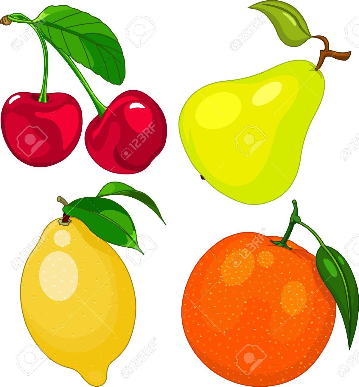 Fruit Dessin la mise à fruit dessin animé, notamment cerise, poire, citron et d