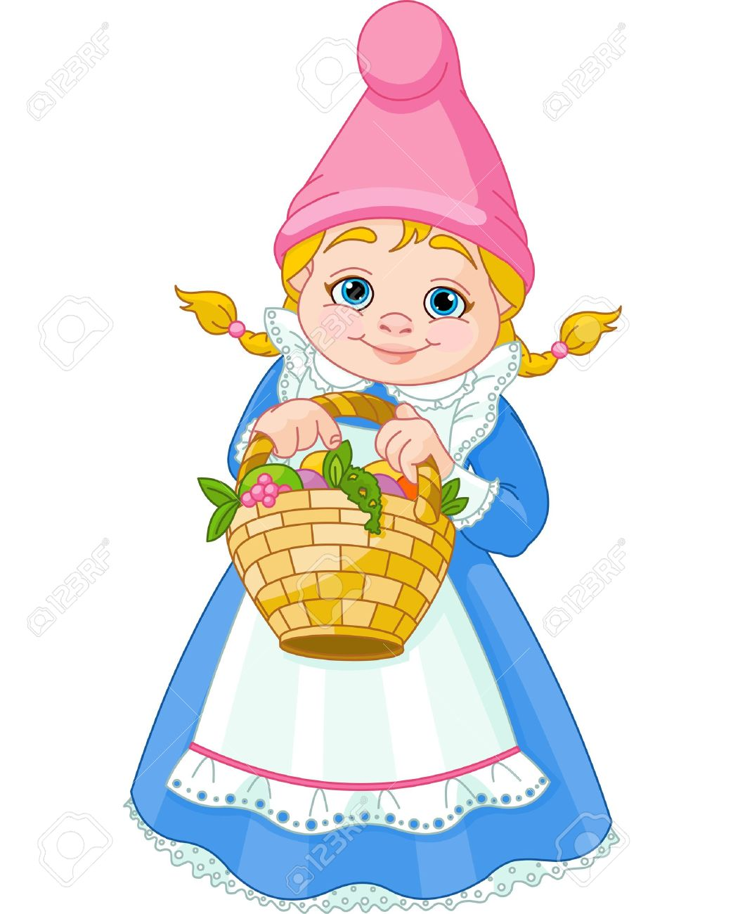 Garden Gnome: Illustration Of Cute Garden Gnome Girl With Basket With  Flowers And Fruit