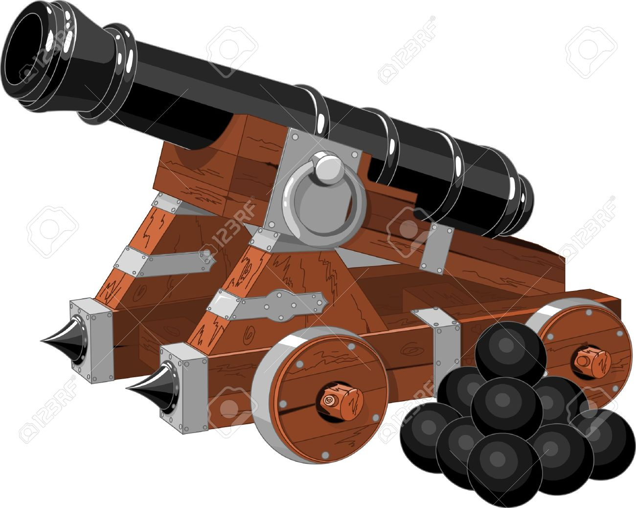 old pirate ship cannon and cannon balls royalty free cliparts