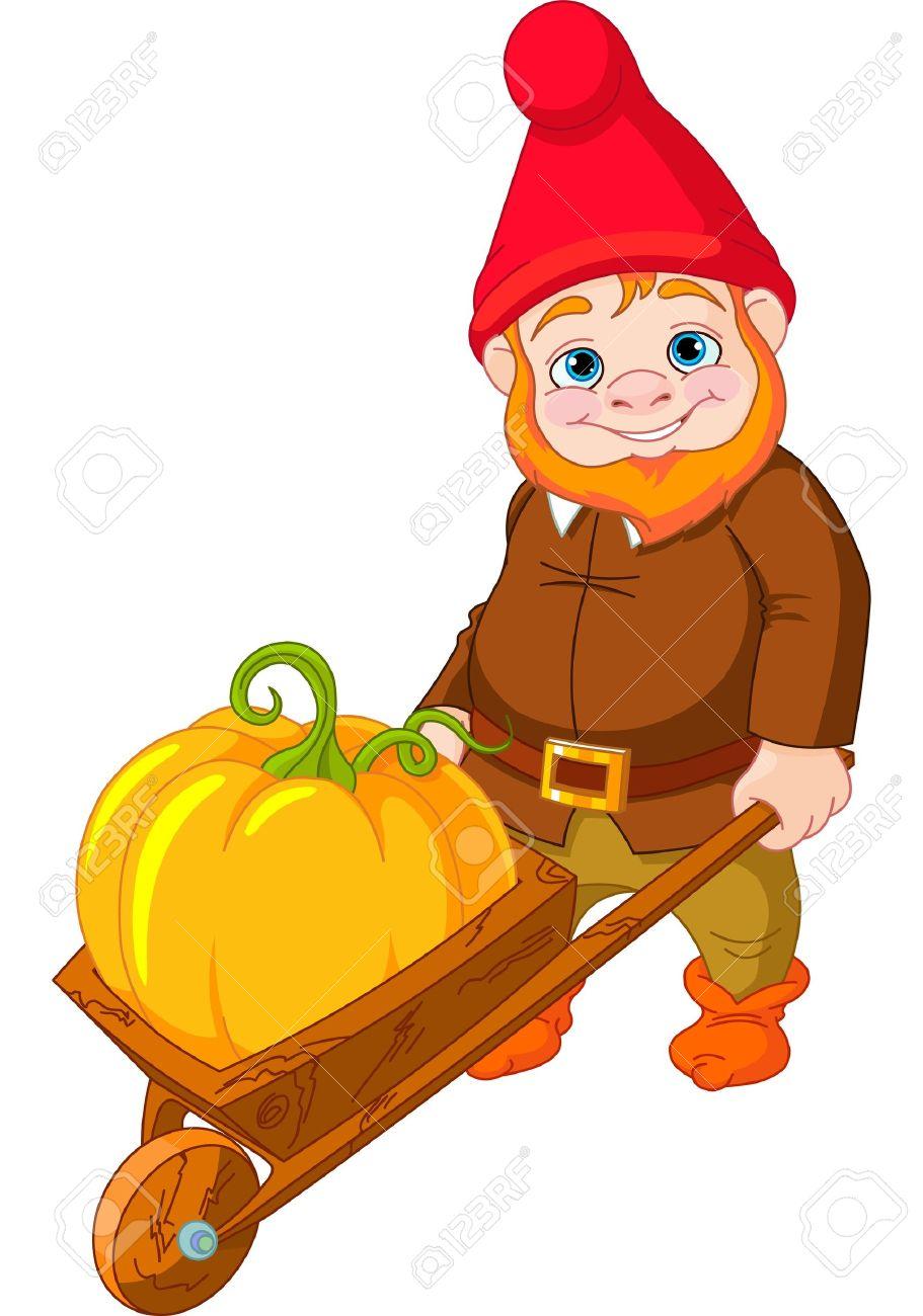 Illustration of cute Garden Gnome with wheelbarrow Stock Vector - 14946951