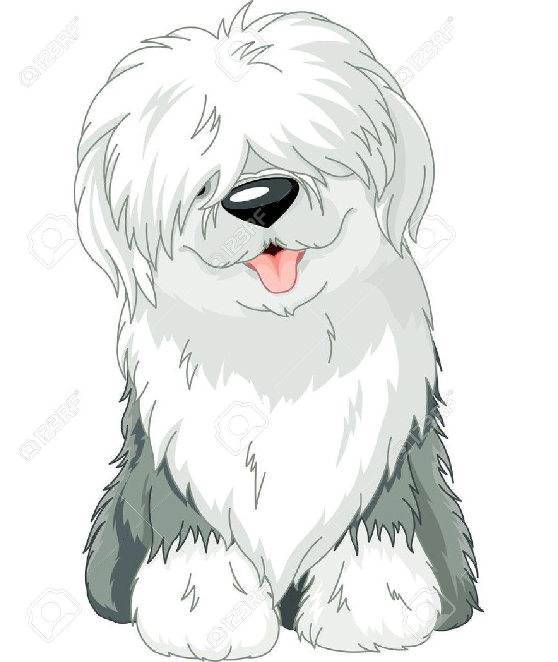 Illustration of sitting funny Old English Sheepdog Stock Vector - 16050082