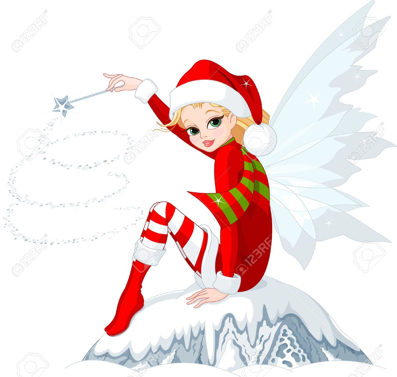 Beautiful Christmas Fairy Sitting On Ice Rock Royalty Free ...