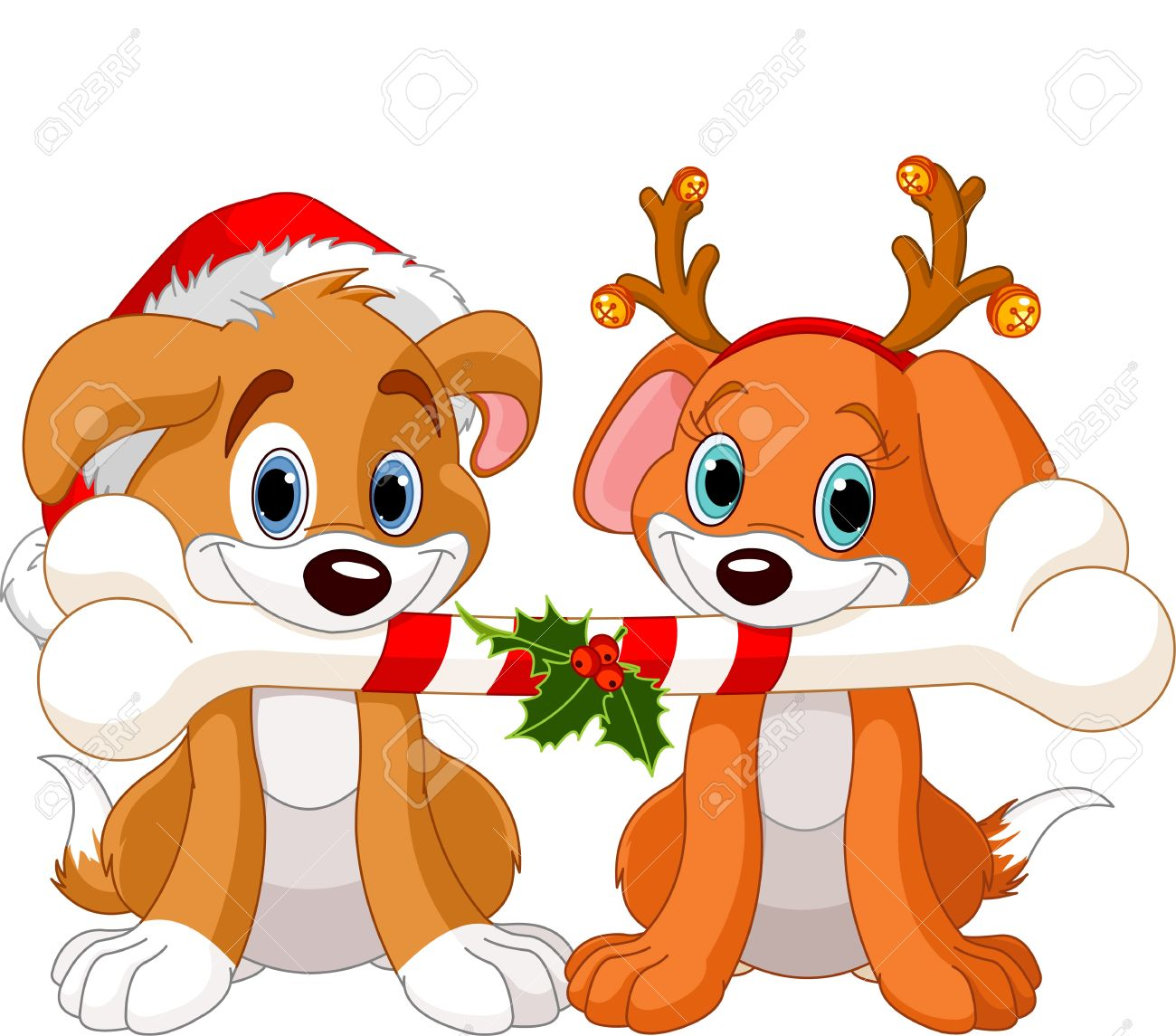Two Christmas Dogs Holding Decorated Bone Royalty Free Cliparts