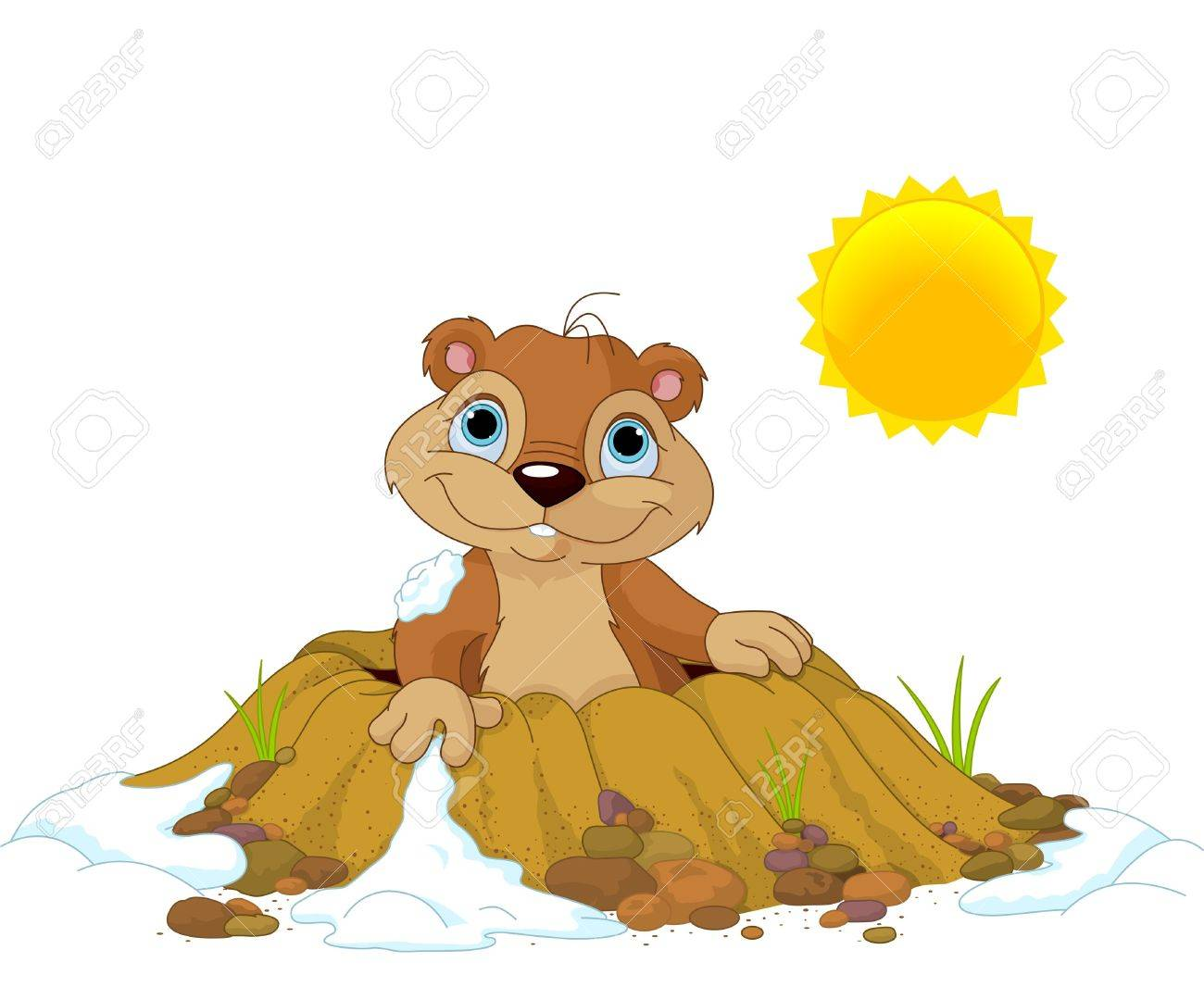 Cute Groundhog popping out of a hole Stock Vector - 17154136