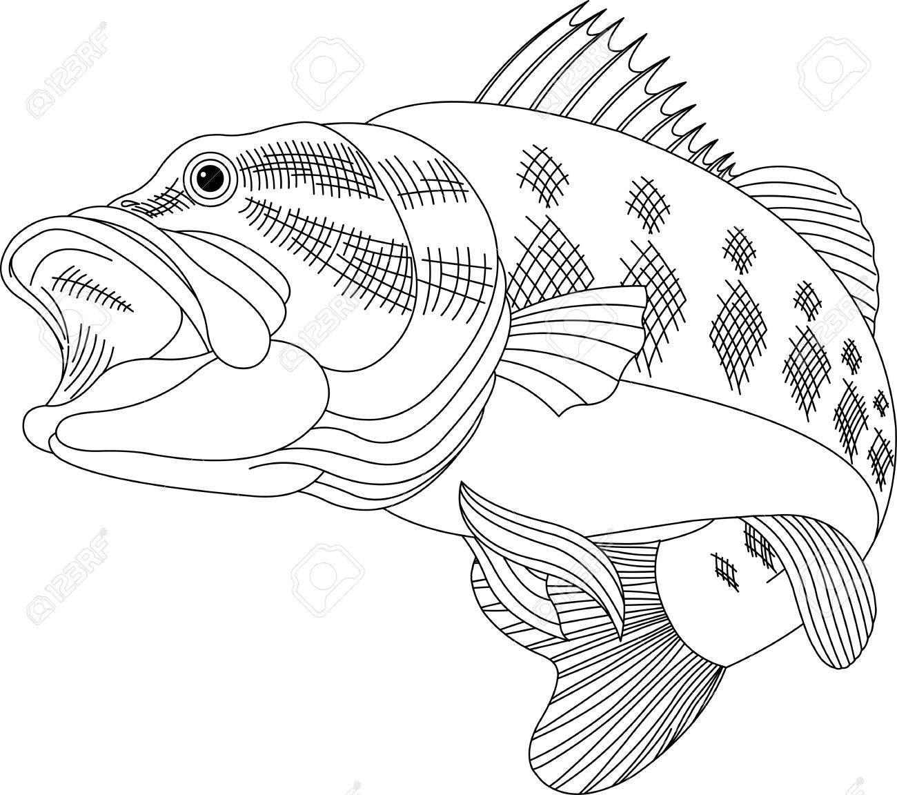 Schwarze Linie Illustration Für Ein Sprung Bass Lizenzfrei Nutzbare ...