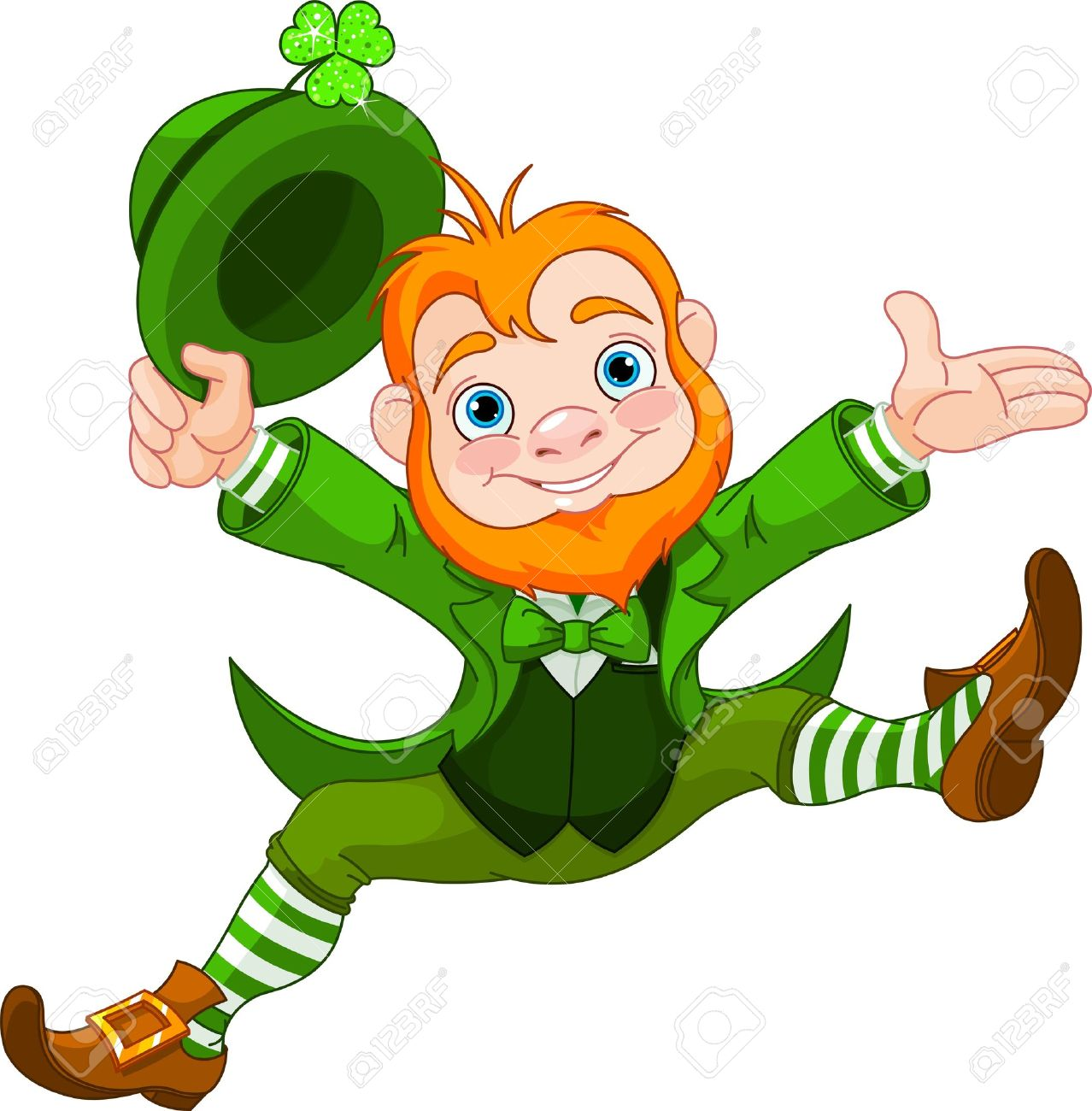 joyful jumping leprechaun royalty free cliparts vectors and