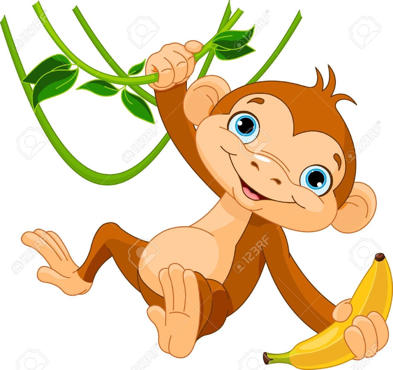 Cute Baby Monkey On A Tree Holding Banana Royalty Free Cliparts Vectors And Stock Illustration Image 17695914 You might also be interested in coloring pages from cartoon monkeys category and preschool animals tag. cute baby monkey on a tree holding banana