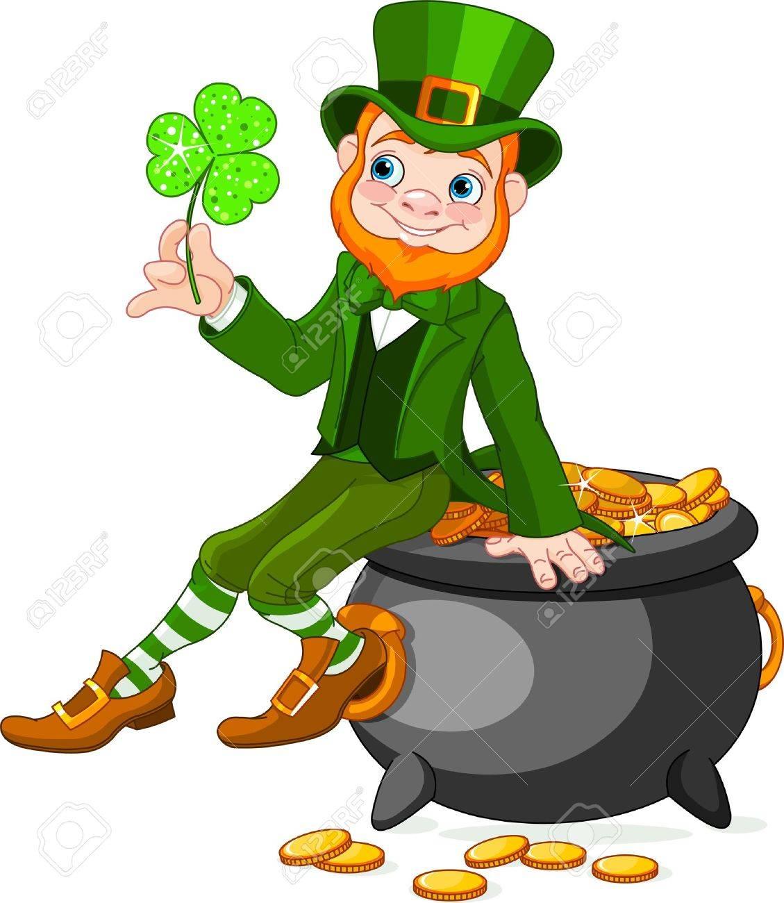 cute cartoon leprechaun sitting on pot of gold royalty free