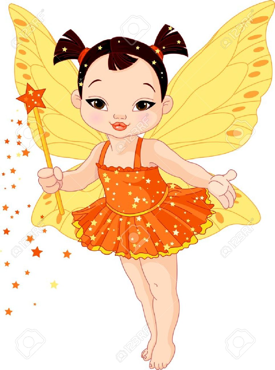 Illustration of Cute little Asian baby fairy in fly Stock Vector - 17925223