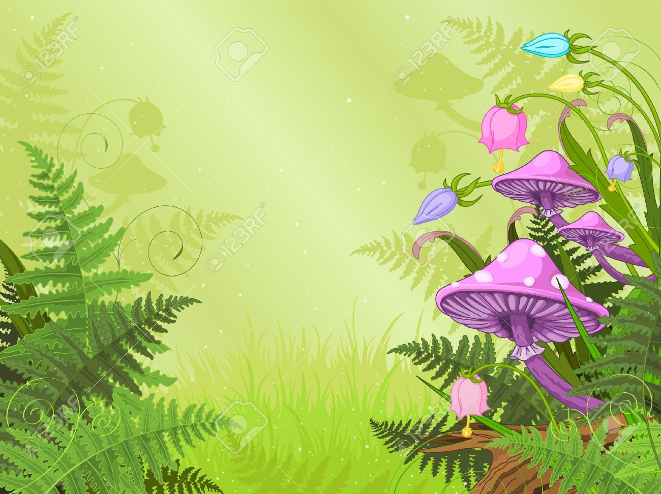 Magic landscape with mushrooms and flowers - 18089503