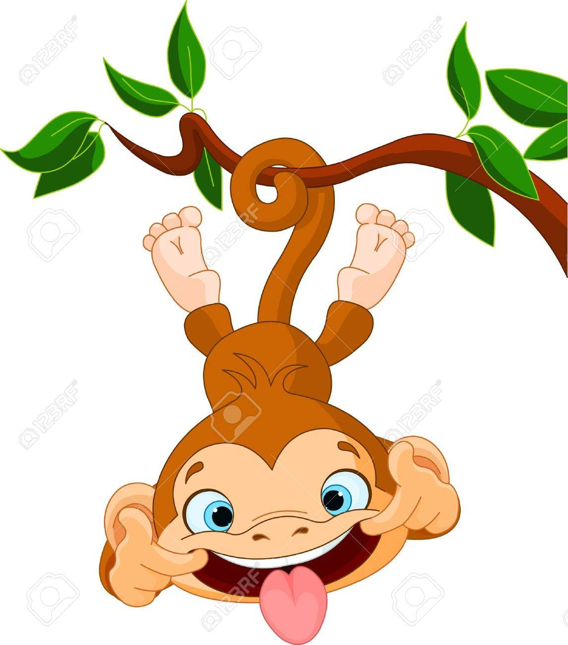 Cute baby monkey hamming on a tree Perfect for April Fools - 18280606