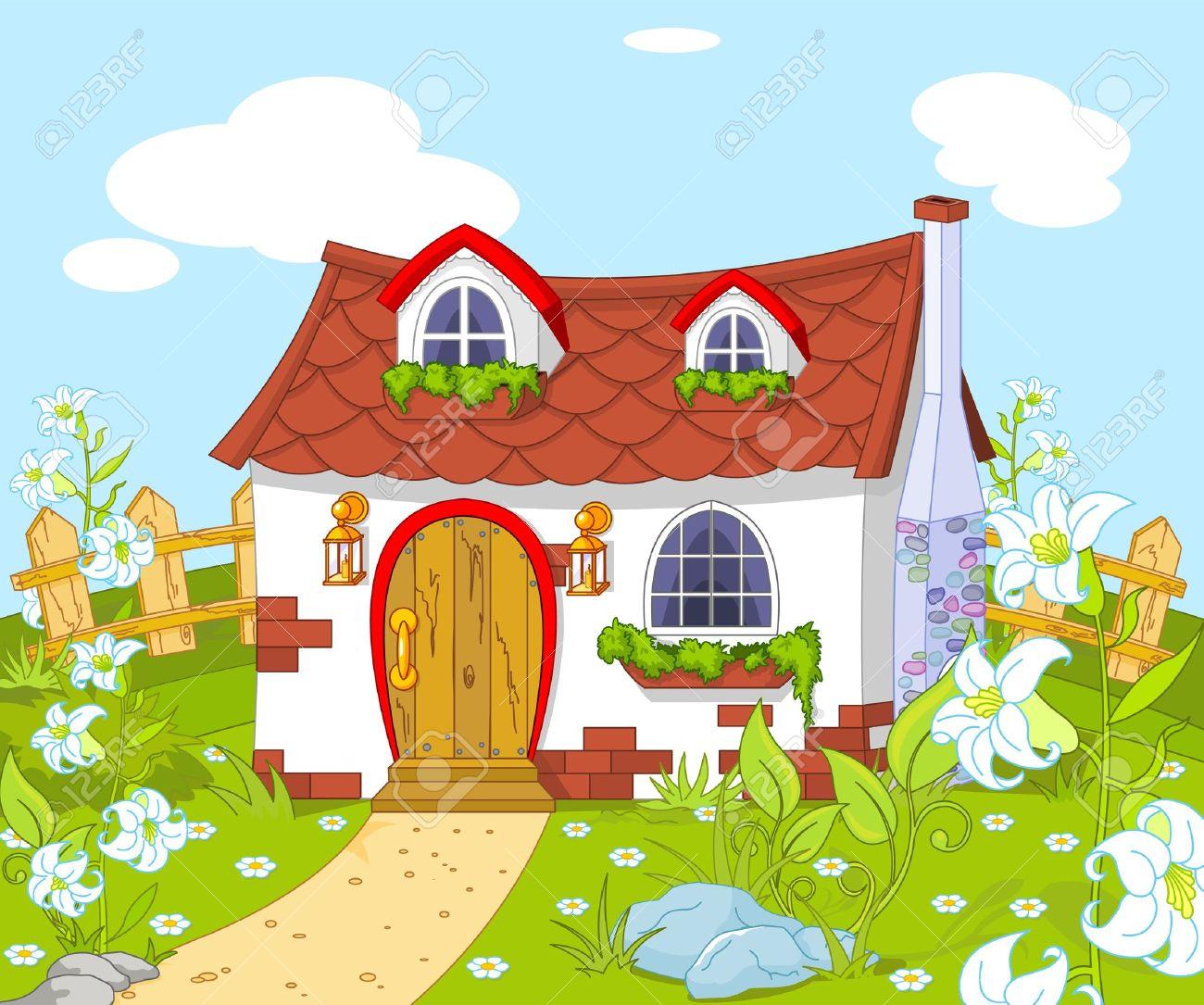 Banque dimages paysage de dessin animé avec petite maison mignonne