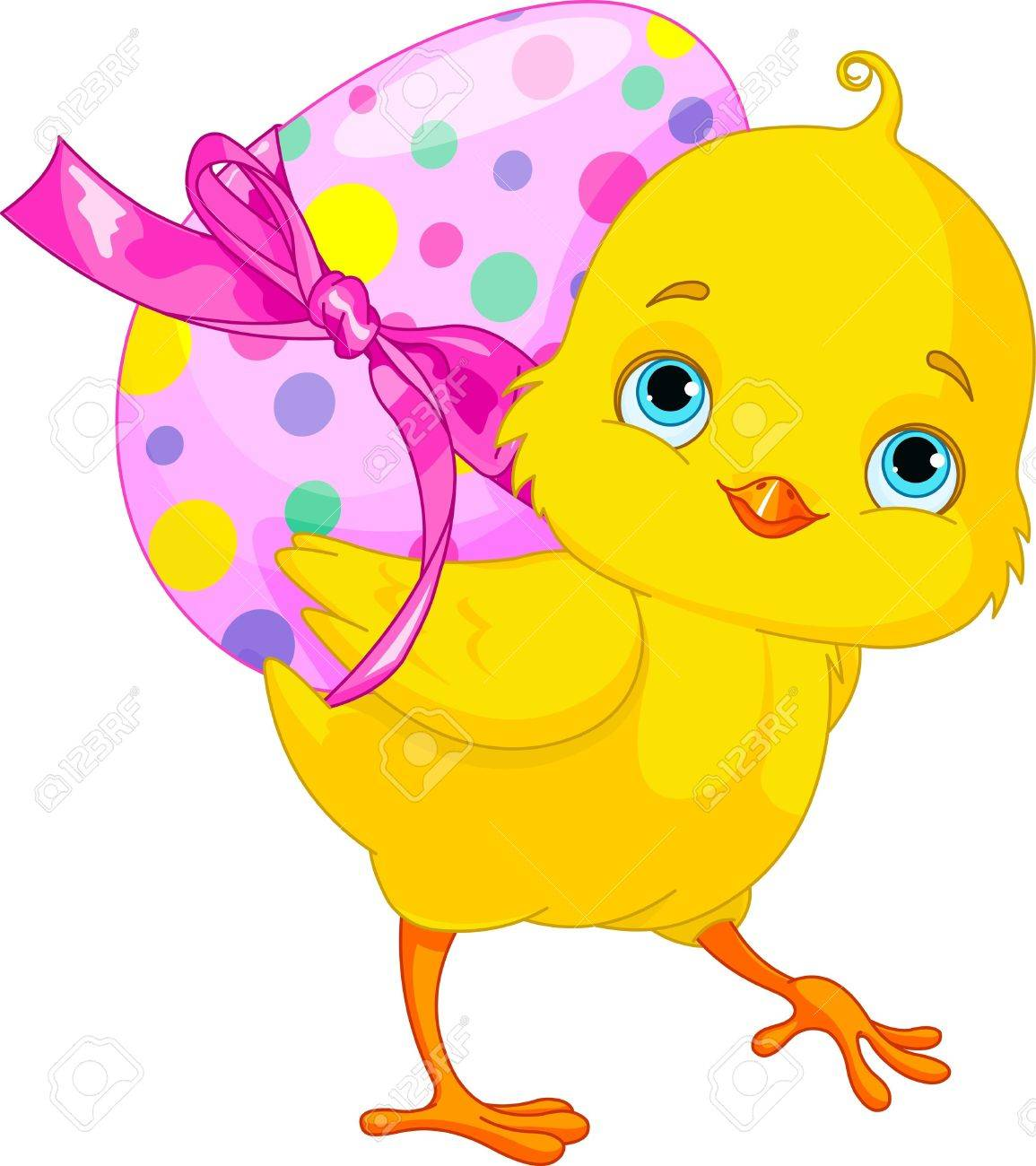 Illustration of happy Chicken bunny carrying egg Stock Vector - 18307586