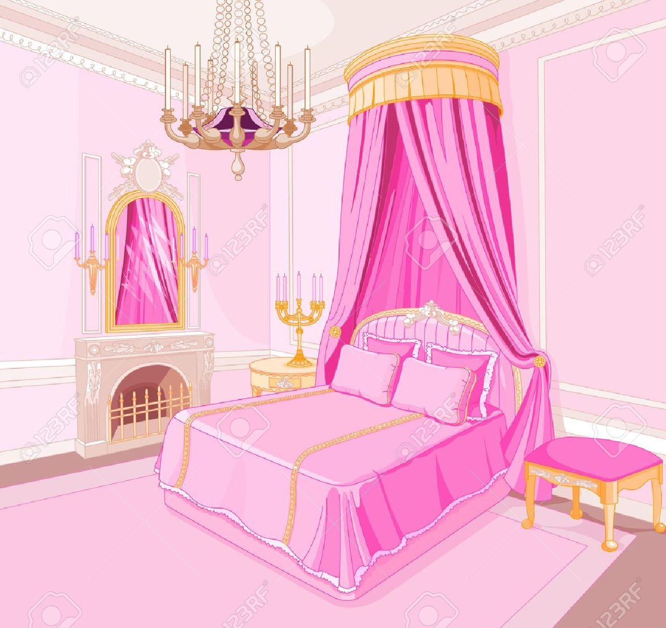 interior of magic princess bedroom royalty free cliparts, vectors