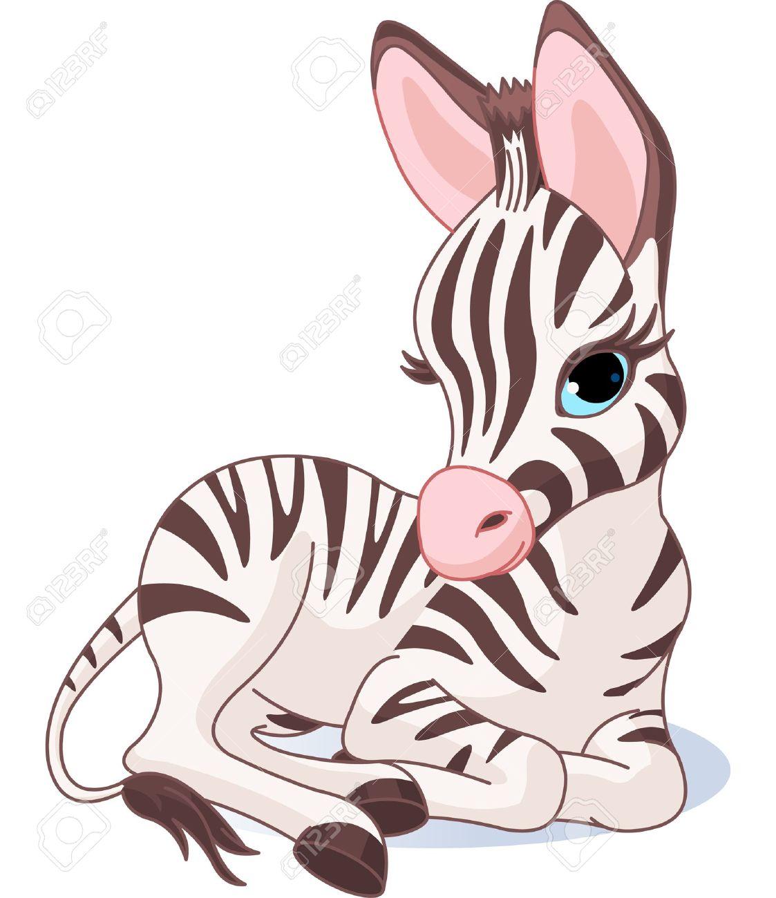 かわいいシマウマ子馬のイラストのイラスト素材ベクタ Image 19704445
