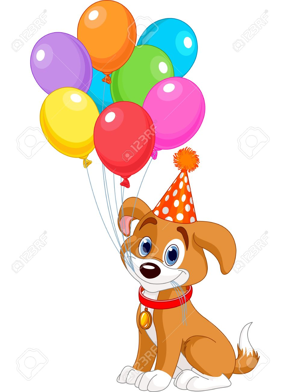 Cute Puppy With Birthday Balloons And Party Hat Stock Vector