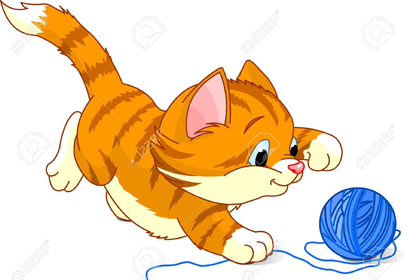 kitten playing with yarn ball royalty free cliparts vectors and rh 123rf com kitten clipart outline kitten clipart black and white free