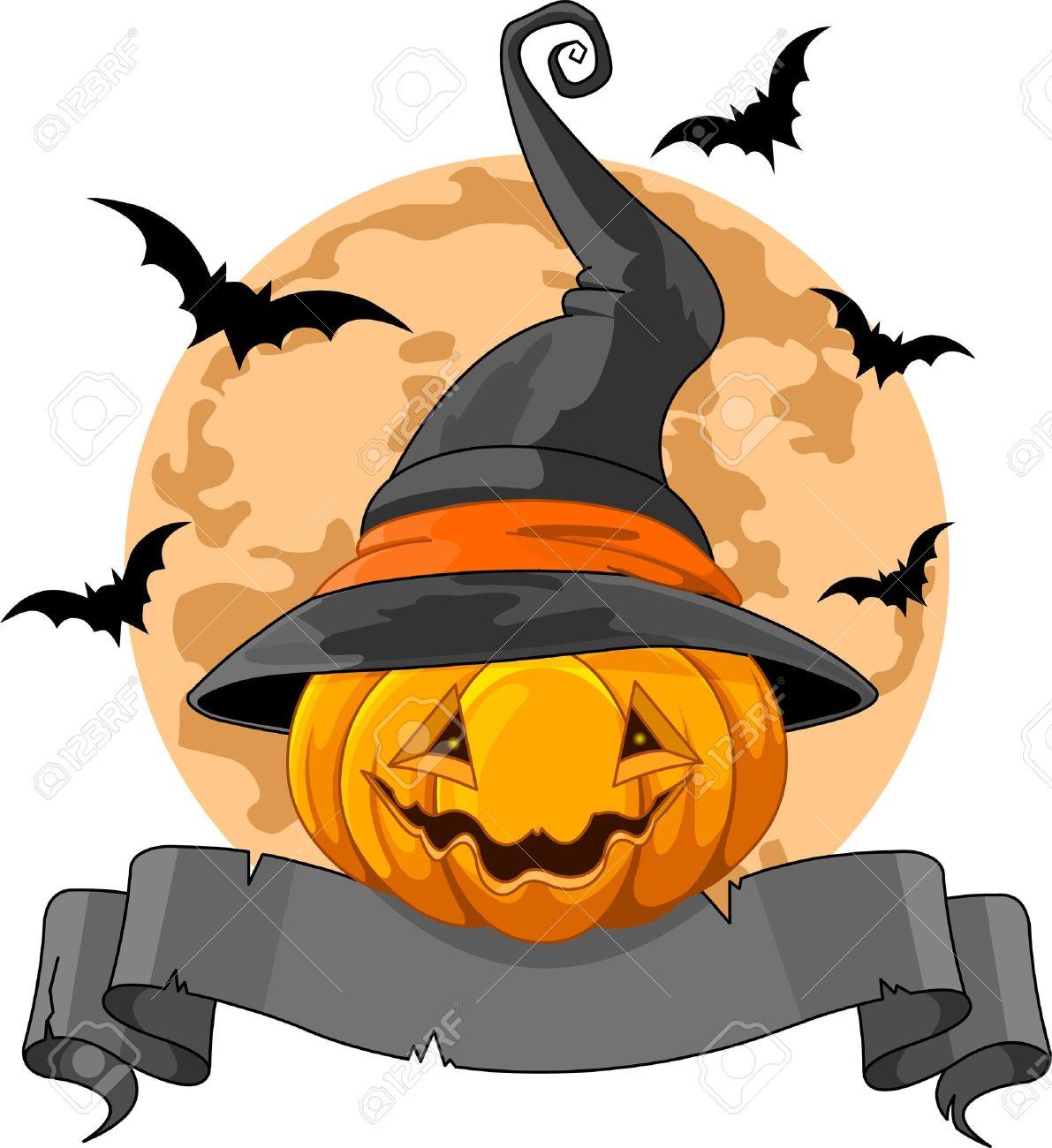 688219f85685f Diseño de Halloween con calabaza con sombrero de bruja Foto de archivo -  21462361
