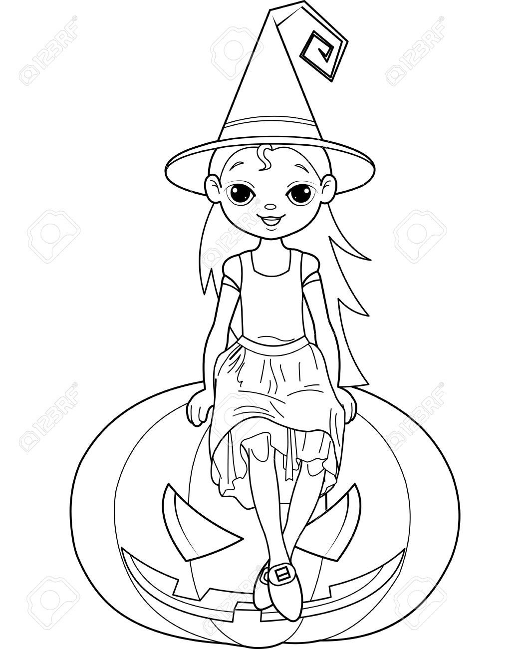 Halloween Witch Sitting On Pumpkin Coloring Page Royalty Free ...