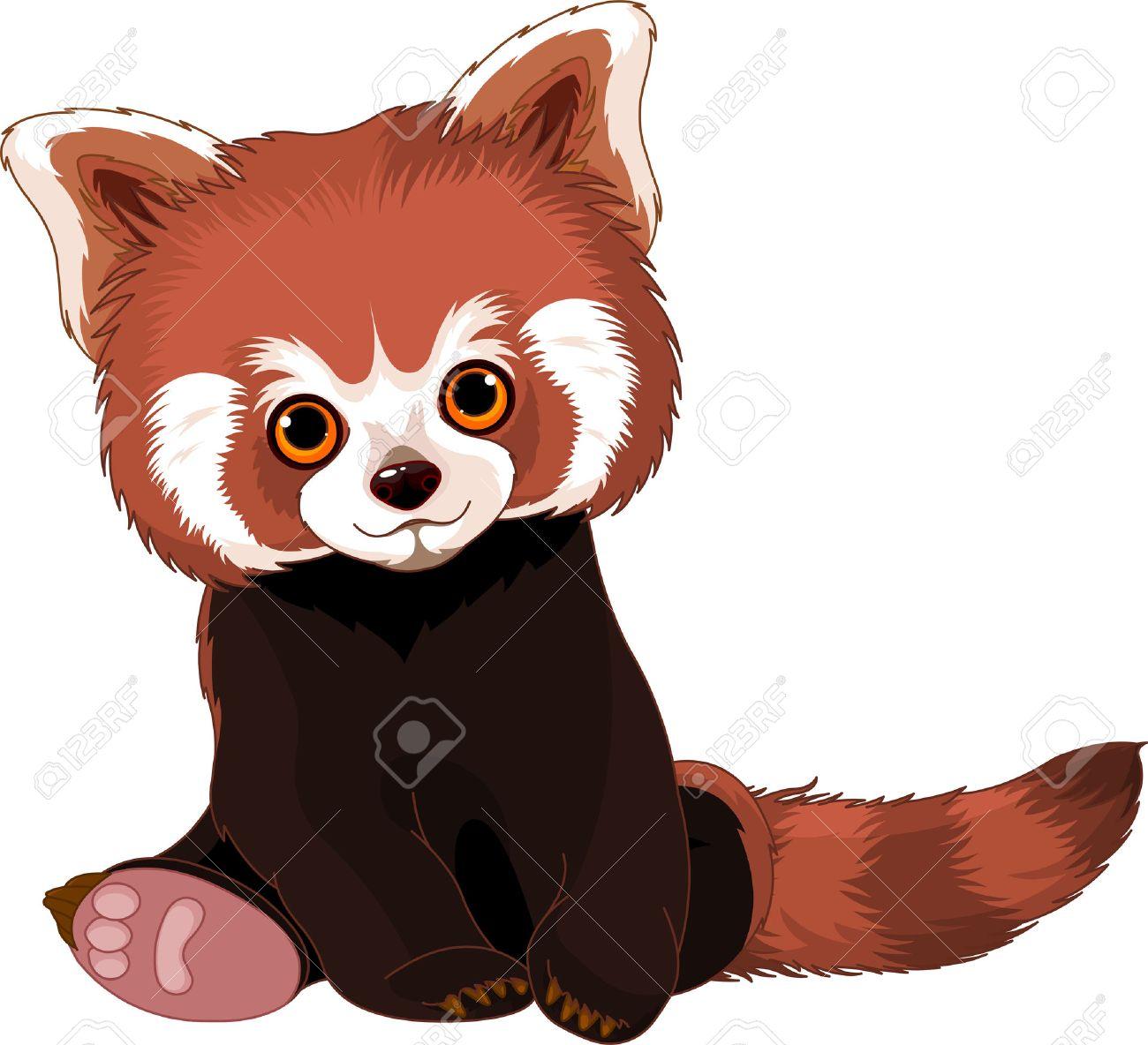 banque dimages mignon assis panda rouge
