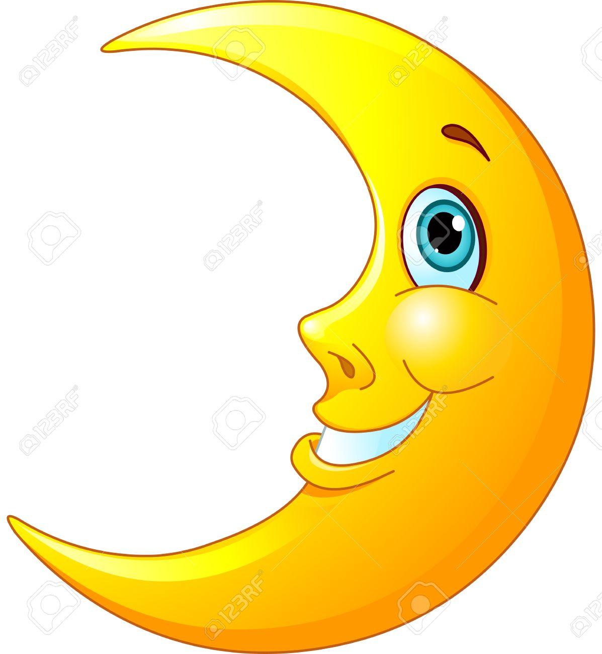 彼の顔にフレンドリーな笑顔で幸せな月のイラスト ロイヤリティフリー