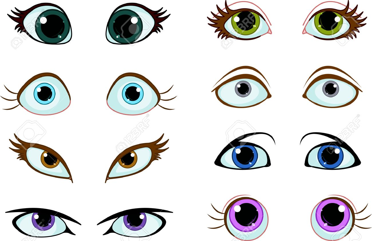 Set of cartoon eyes with different expressions Stock Vector - 23074575