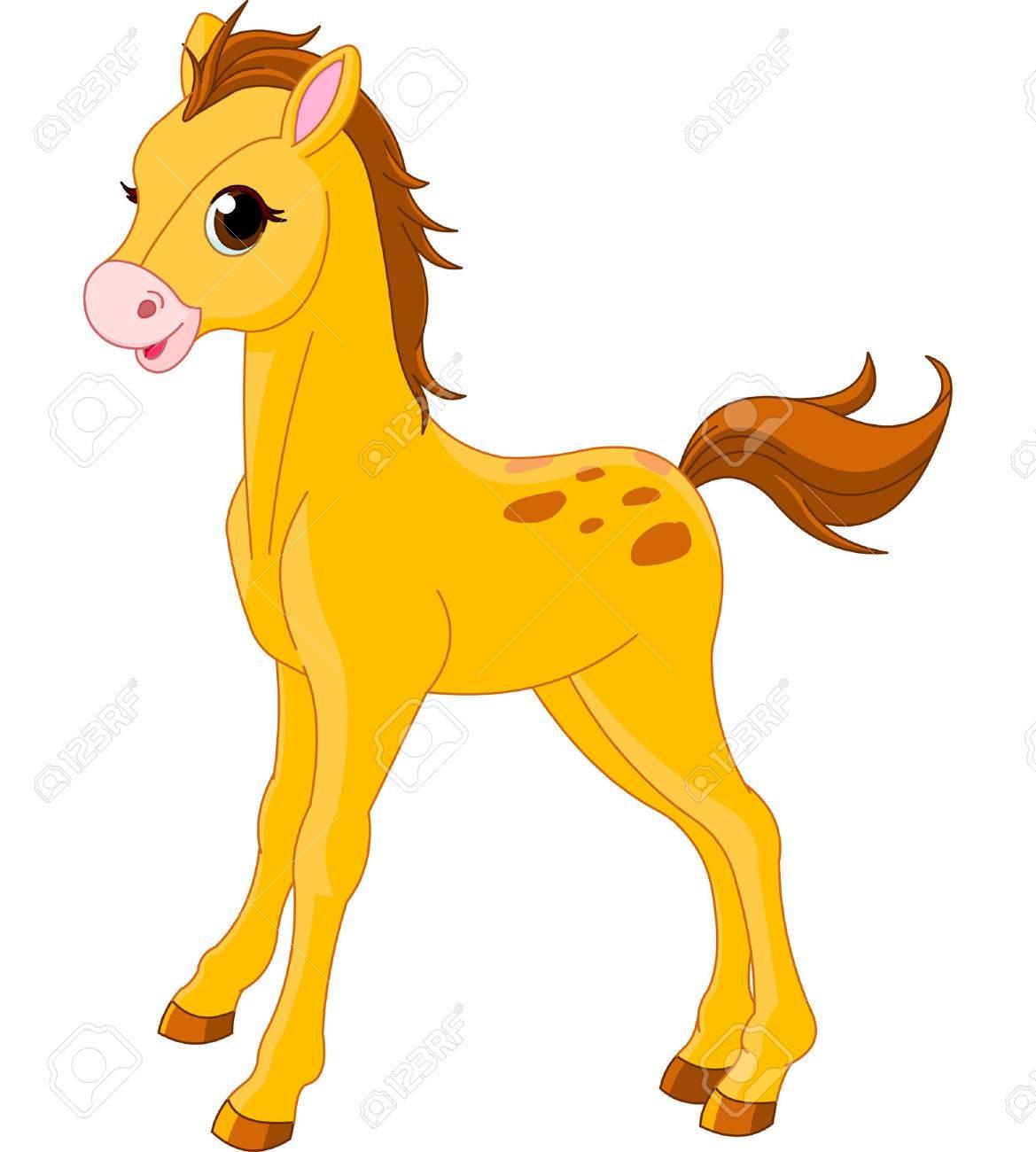 かわいい馬の子馬のイラストのイラスト素材 ベクタ Image