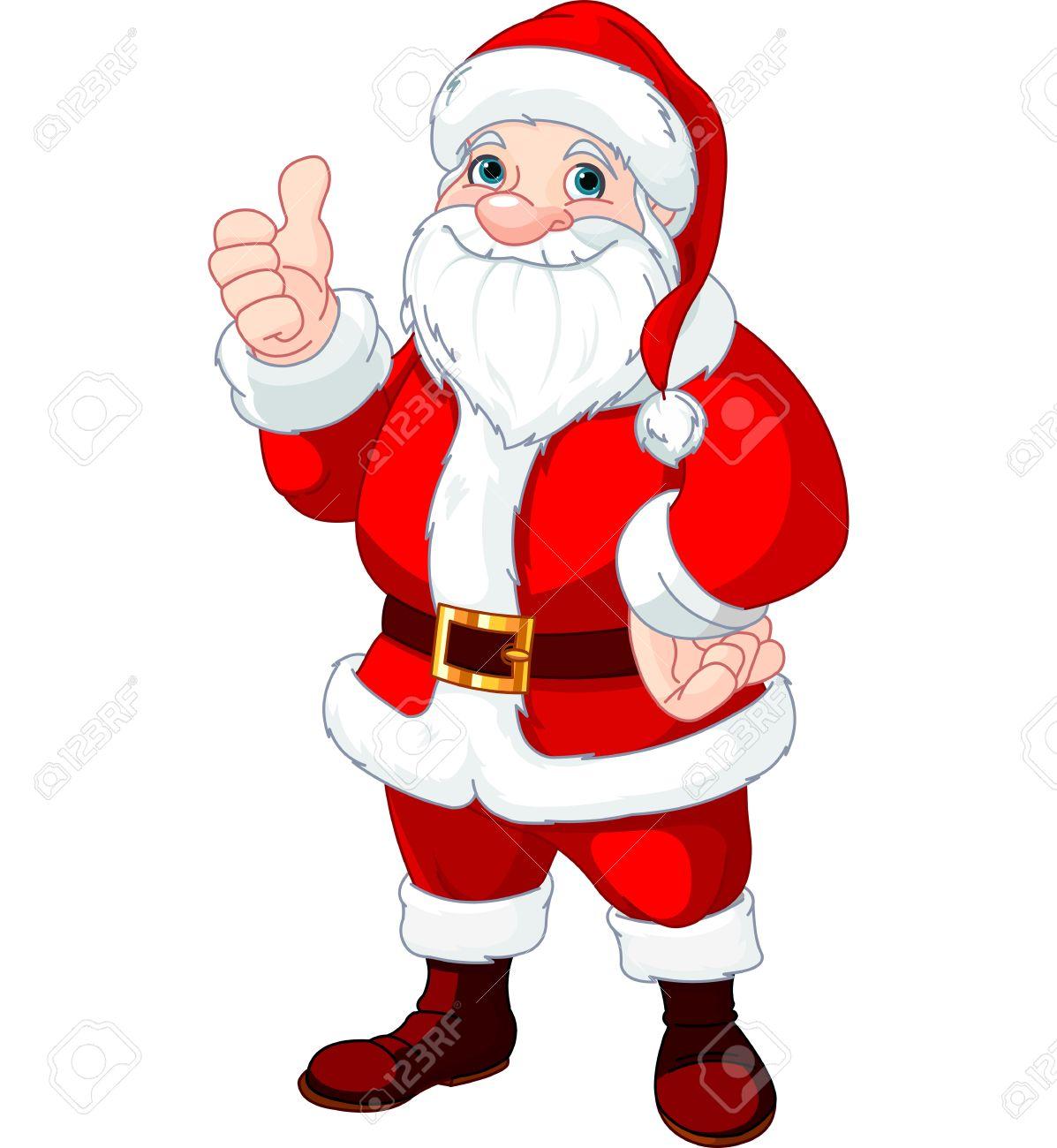 Weihnachten Weihnachtsmann Tun Ein Daumen Hoch Und Lächeln ...