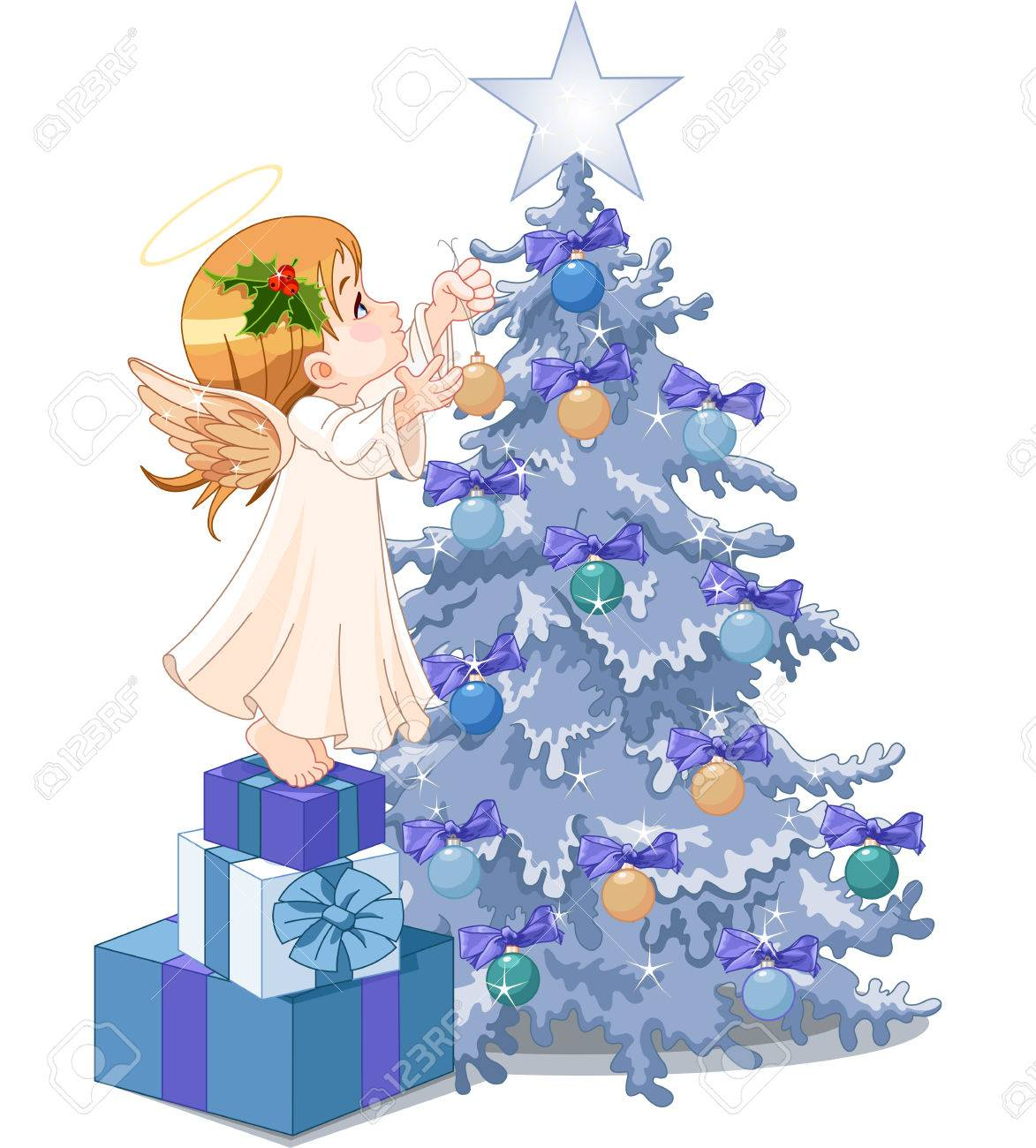 Christmas Angel Decorating Christmas Tree Royalty Free Cliparts Vectors And Stock Illustration Image 23873028