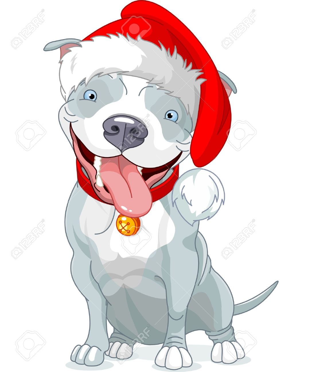 Illustration Of Christmas Pit Bull Dog Royalty Free Cliparts ...