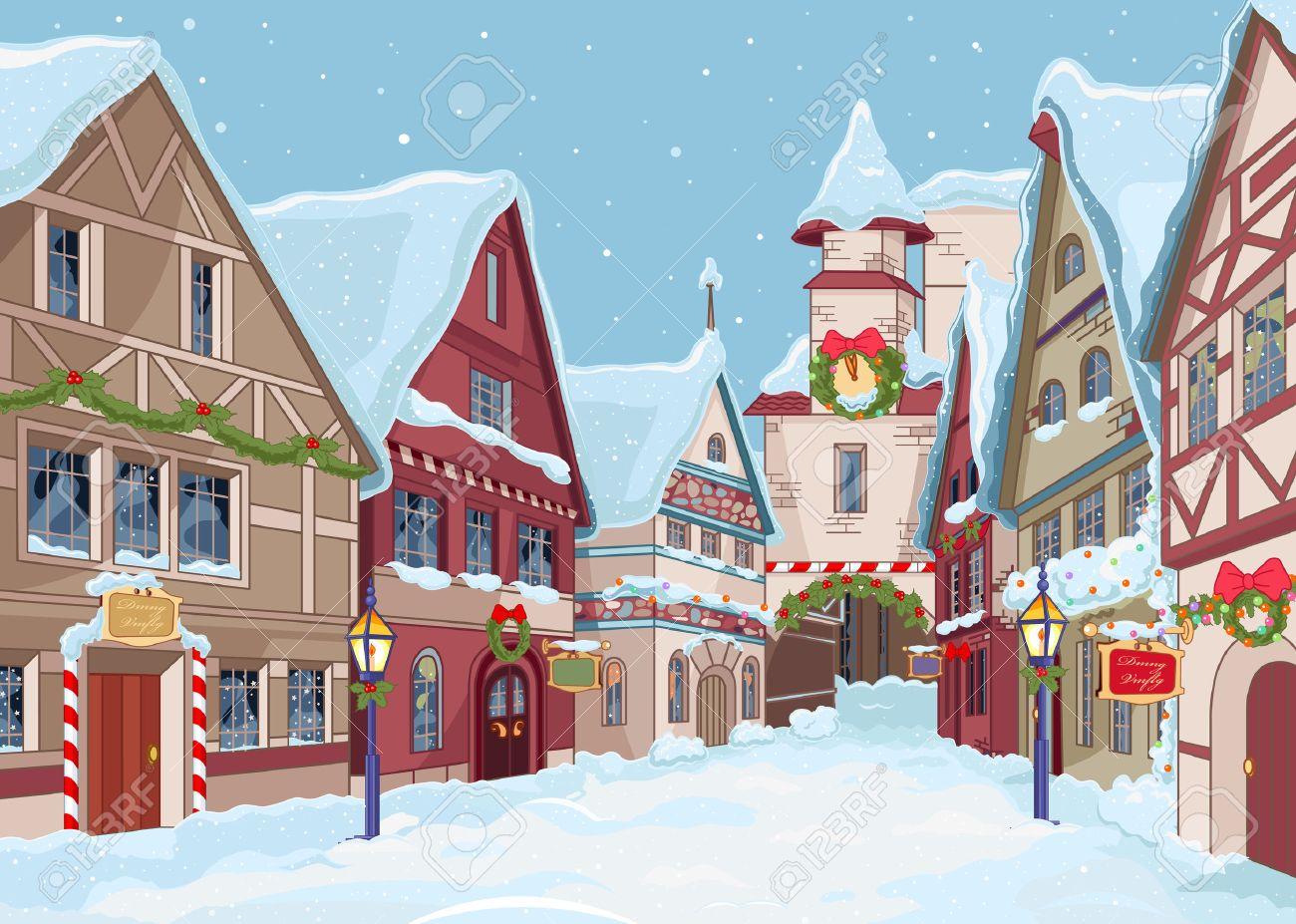 冬の日のクリスマスの街並みのイラスト素材ベクタ Image 24058620