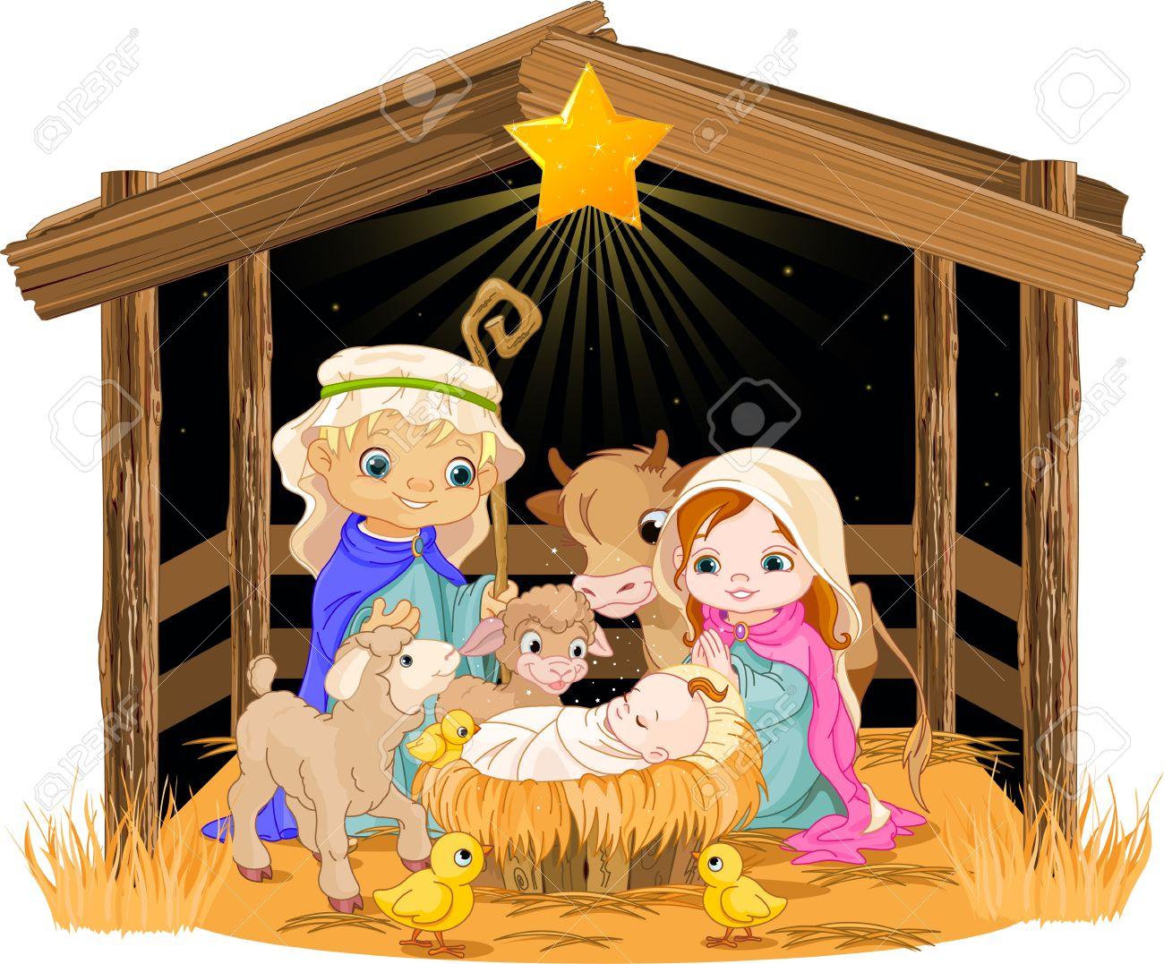 Christmas nativity scene with holy family Stock Vector - 24155176