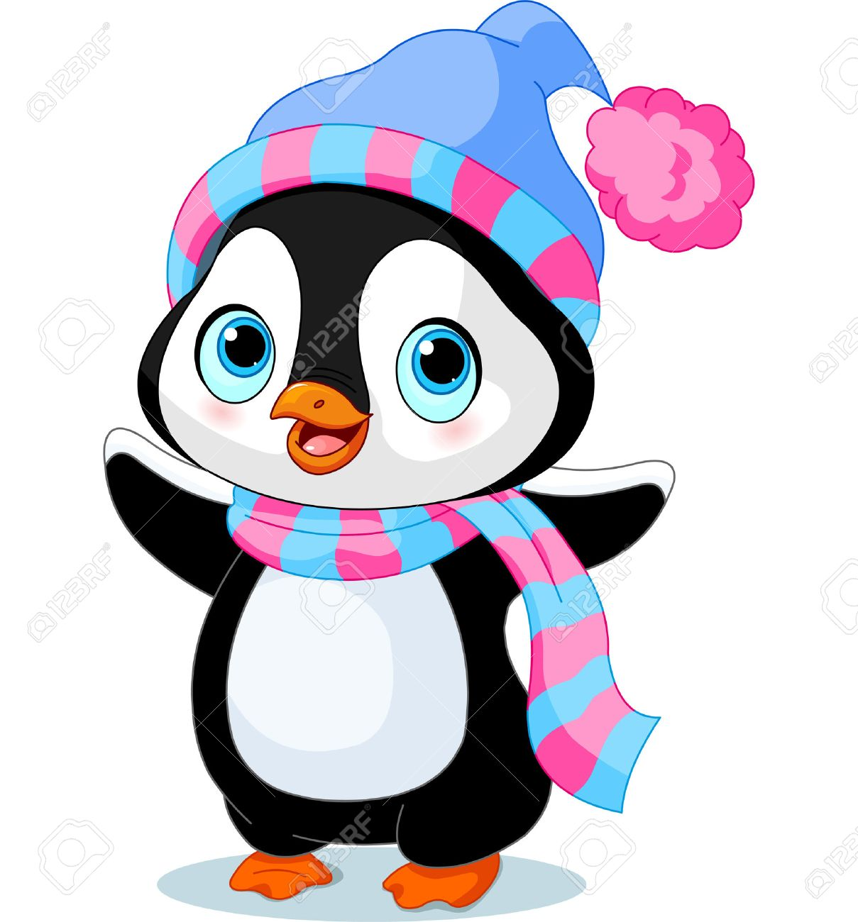 d8160e9e4fc56b Cute Winter Penguin With Hat And Scarf Royalty Free Cliparts ...