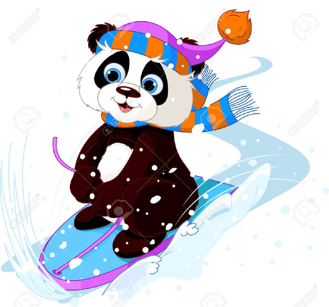 Cute punda sledding downhill winter snow mountain - 24908153