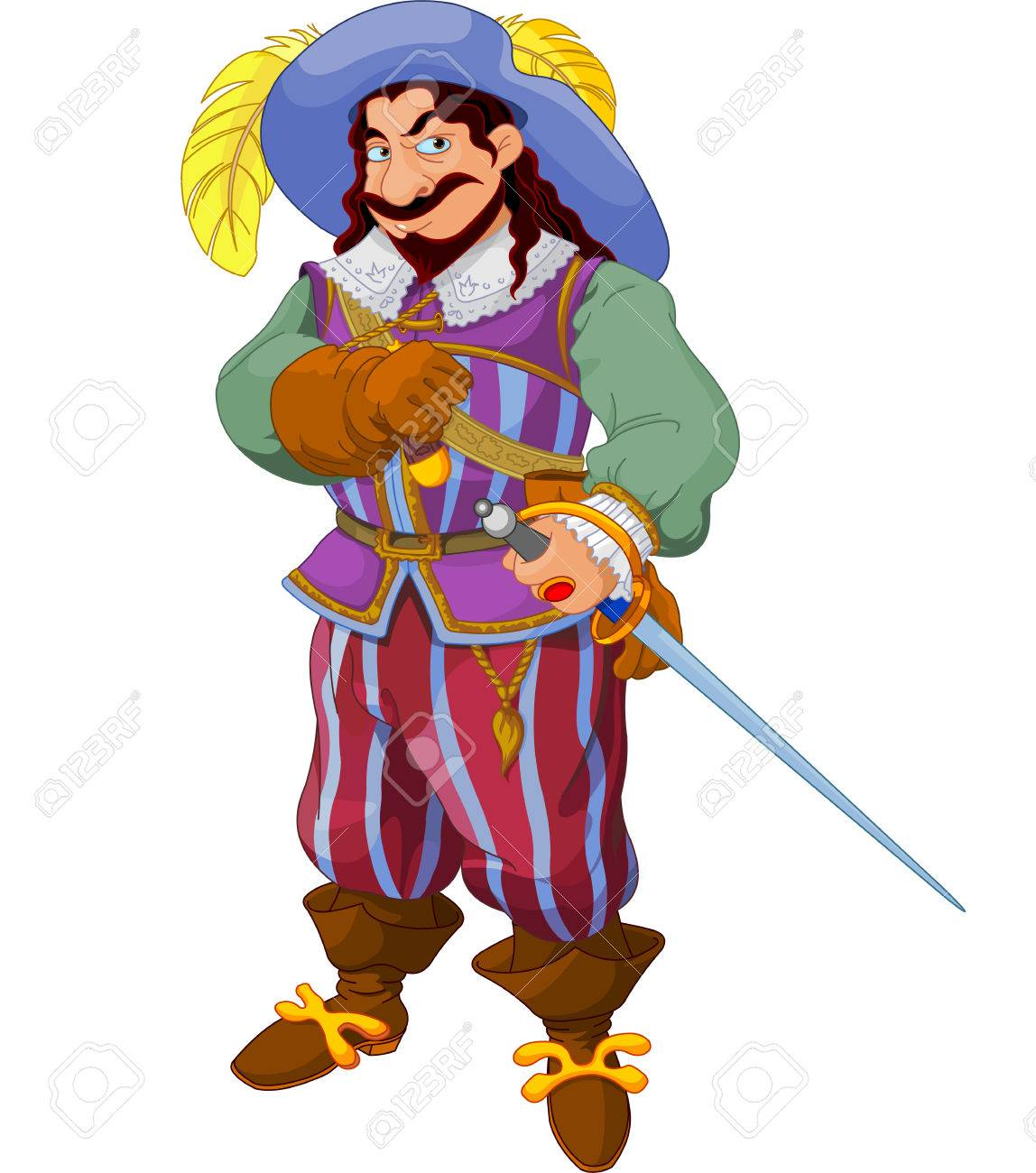 Man with a period costume and a sword posing. Stock Vector - 29083727