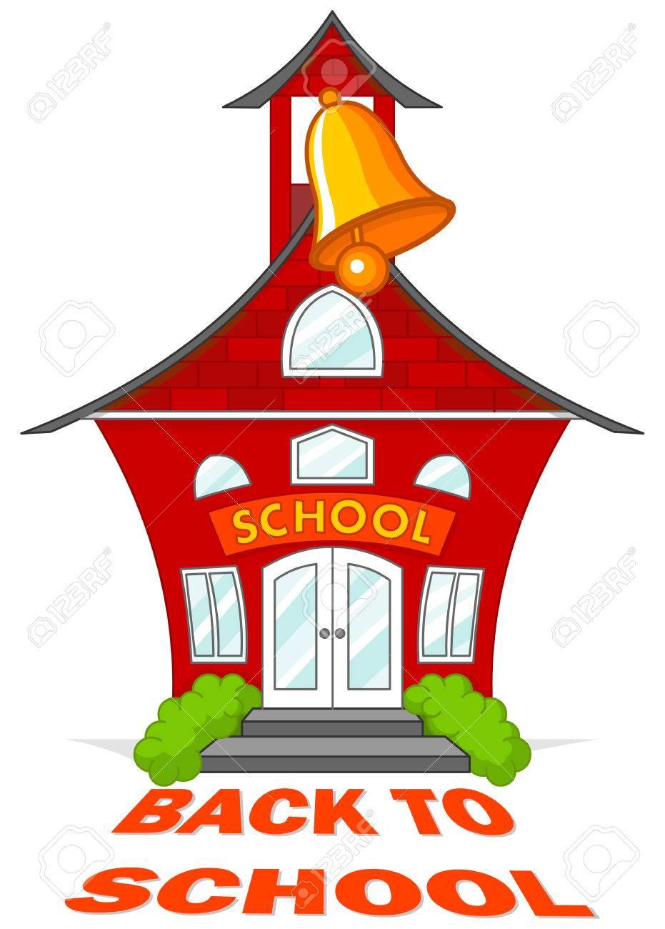 かわいい学校の鐘と建物のイラスト ロイヤリティフリークリップアート