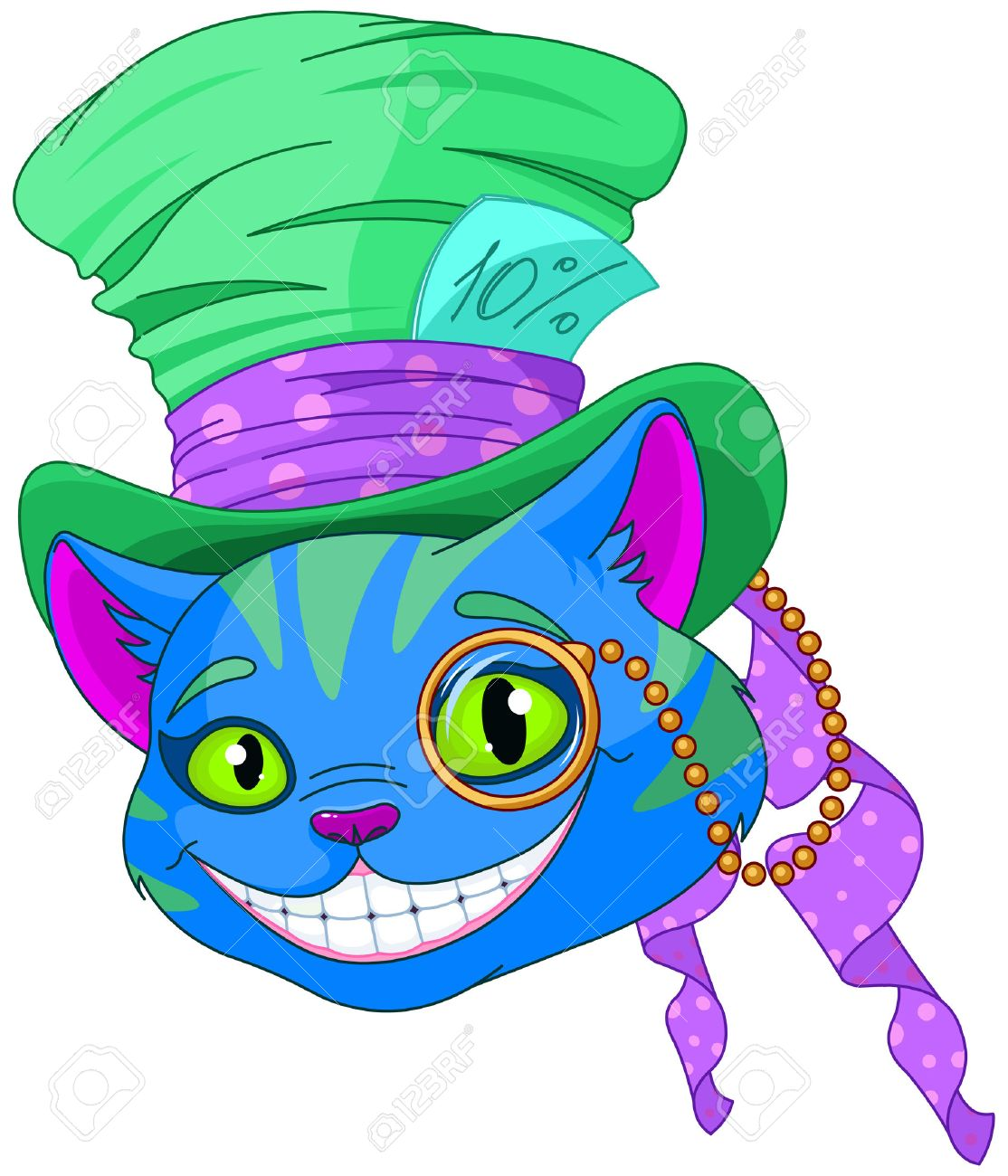 Cheshire Cat In Top Hat And Monocle Royalty Free Cliparts, Vectors ...