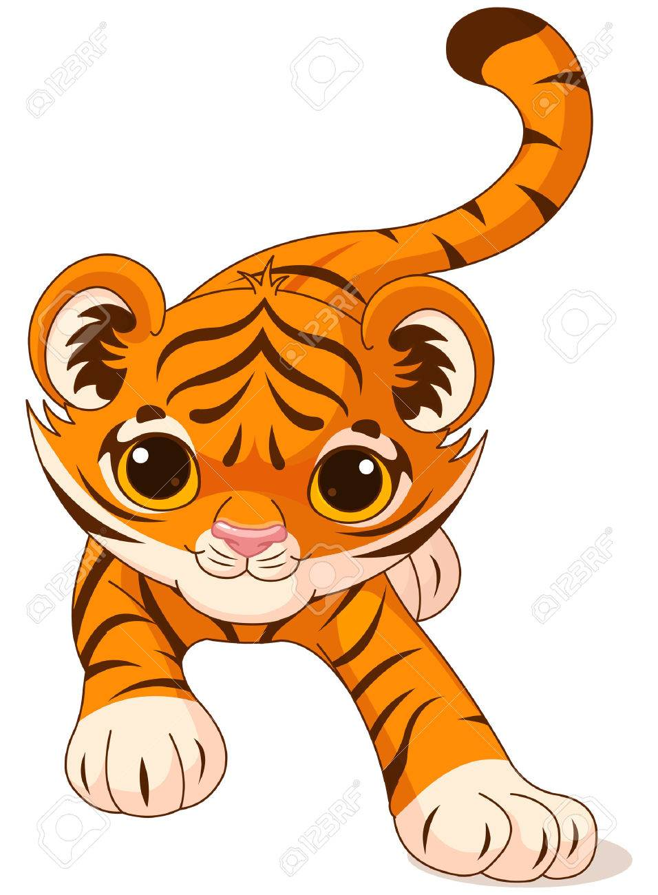 illustration of crouching cute baby tiger royalty free cliparts rh 123rf com Cute Tiger Clip Art cute baby tiger clipart
