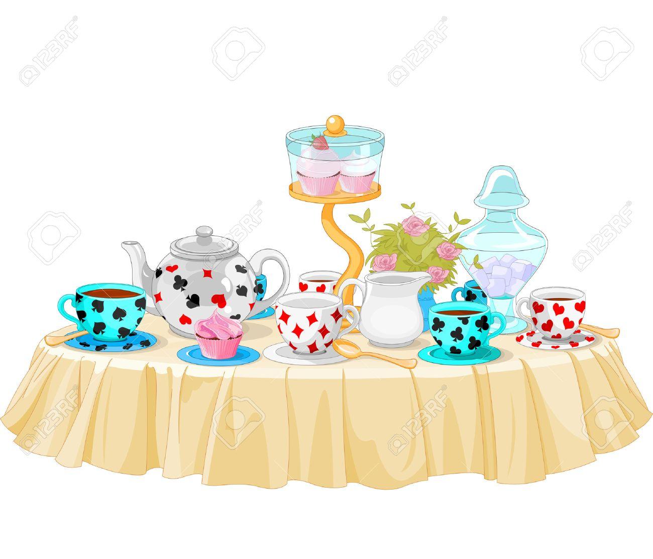 wonderland tea party decorated table royalty free cliparts vectors rh 123rf com tea party clipart images tea party clip art free downloads