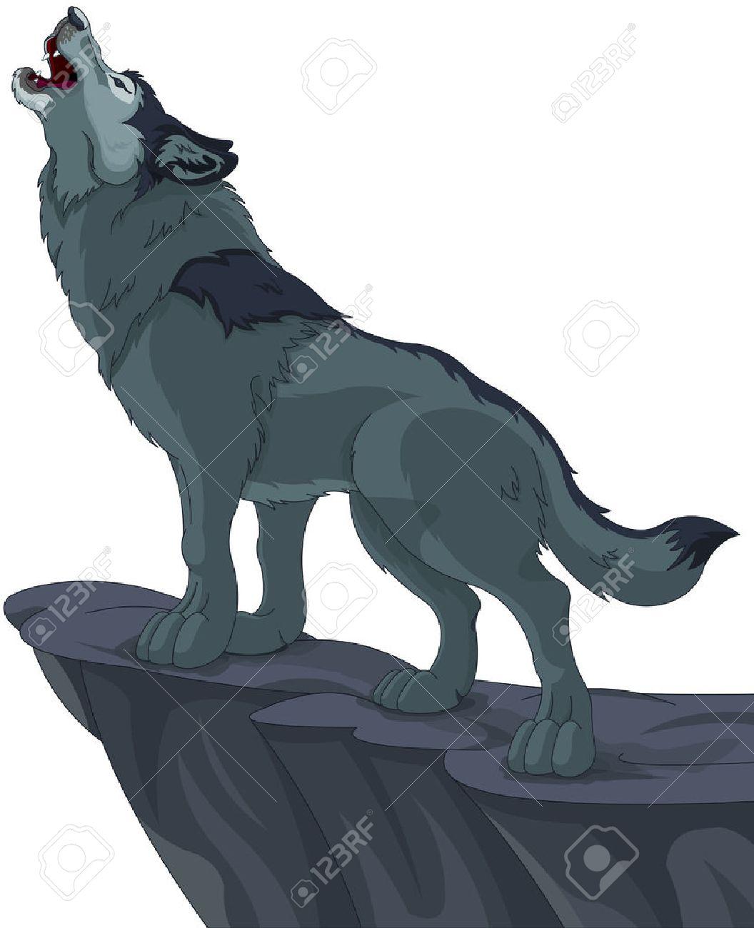崖の上に立つ狼の遠吠えのイラストのイラスト素材ベクタ Image 31539261