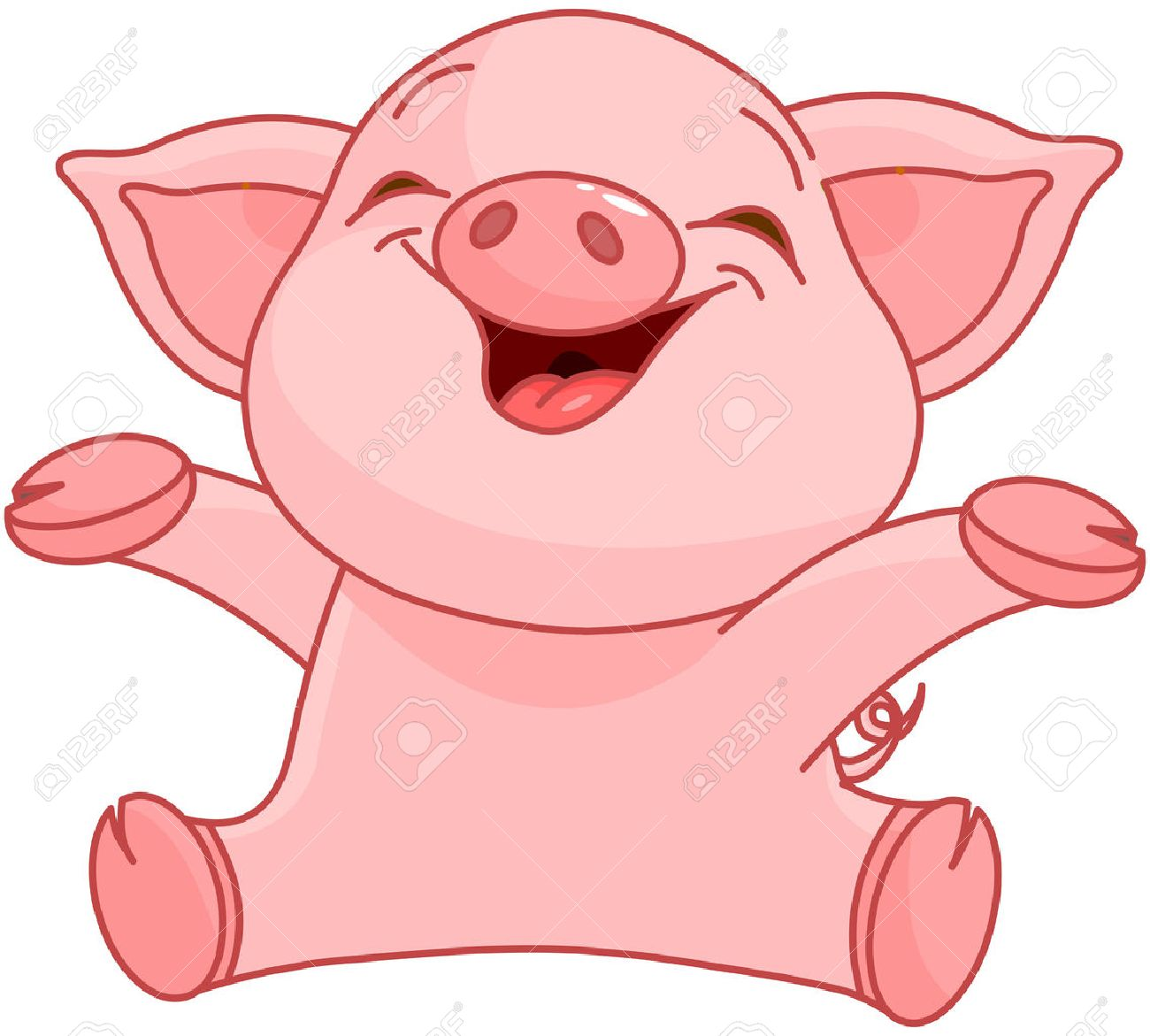 illustration of very cute piggy royalty free cliparts vectors and