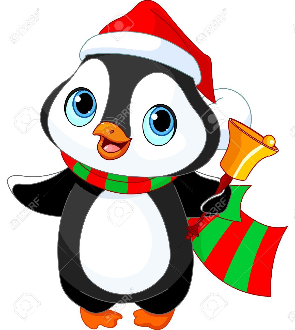pingouin noel Pingouin De Noël Mignon Avec Jingle Bell Clip Art Libres De Droits  pingouin noel