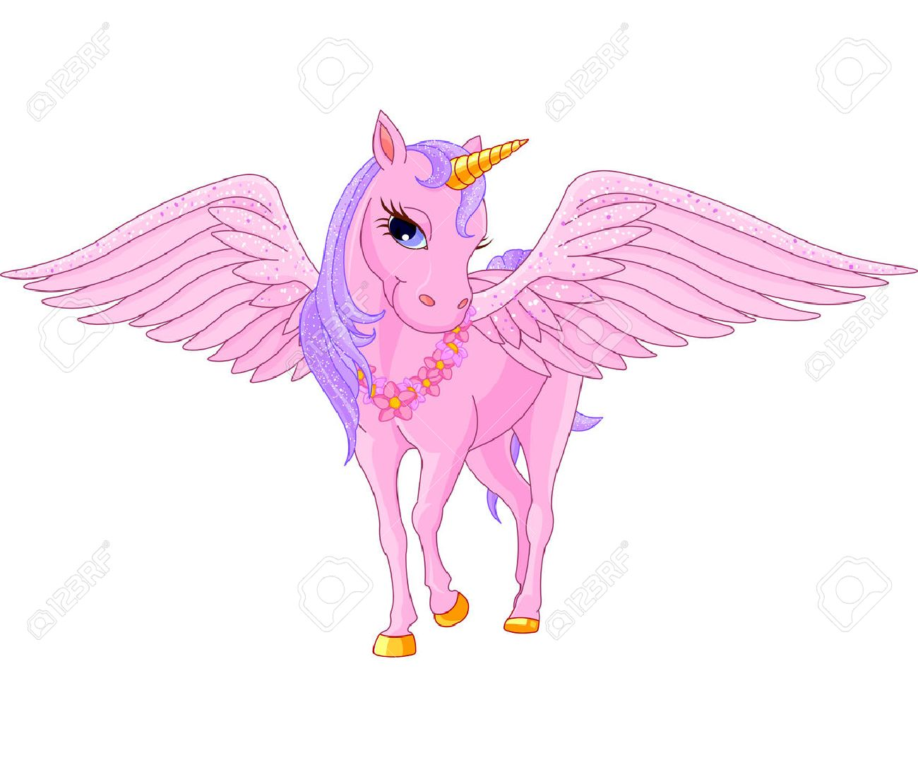 illustration of beautiful pink unicorn pegasus royalty free